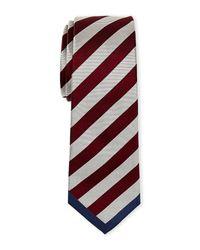 Valentino - Brown Burgundy & Silver Striped Tie for Men - Lyst