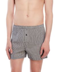 Geoffrey beene woven check boxers in black for men lyst
