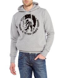 DIESEL | Gray Scentyn Hooded Sweatshirt for Men | Lyst