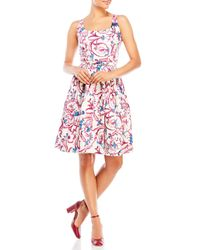 Samantha Sung | Pink Printed Belted Fit & Flare Dress | Lyst