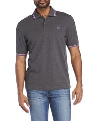 Fred Perry - Gray Twin Tipped Polo for Men - Lyst