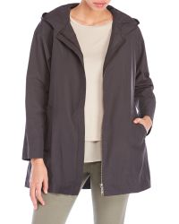 Eileen Fisher | Gray Hooded Organic Cotton Nylon Jacket | Lyst