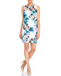 34e7c41563 Lyst - Ivanka Trump Floral Popover Scuba Sheath Dress in Natural