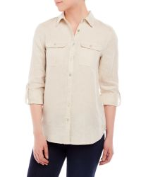 Symple NYC - Natural Two-Pocket Linen Shirt - Lyst