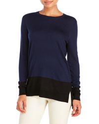 VINCE | Blue Long Sleeve Color Block Sweater | Lyst