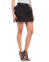MILLY | Black Feather and Silk Organza Mini Skirt | Lyst
