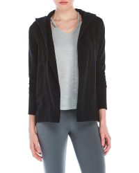 James Perse | Black Open Front Hooded Cardigan | Lyst