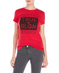 True Religion | Red Rhinestone Logo Tee | Lyst