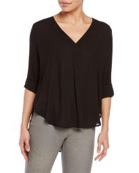 Lush | Black Three-Quarter Sleeve Woven Blouse | Lyst