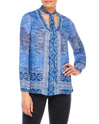 Lucky Brand | Blue Long Sleeve Scarf Print Blouse | Lyst