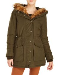 Levi's | Green Faux-fur-trim Hooded Parka Jacket | Lyst