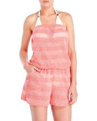 Jordan Taylor | Pink Striped Bandeau Cover-Up Romper | Lyst