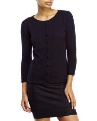 Qi | Black Knit Cashmere Cardigan | Lyst