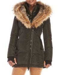 Nicole Benisti   Black Real Fur Trim Hooded Down Coat   Lyst