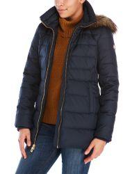 MICHAEL Michael Kors   Blue Faux Fur Trim Funnel Coat   Lyst