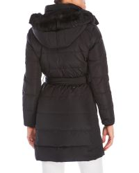 Lauren by Ralph Lauren - Black Belted Faux Fur Trim Down Coat - Lyst