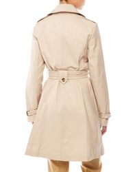 T Tahari - Natural Double-Breasted Belted Trench Coat - Lyst
