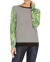 Shae - Green Stripe Contrast Sleeve Sweater - Lyst