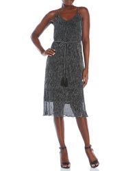 Re:named   Black V-Neck Pleated Midi Dress   Lyst