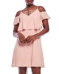 Jessica Simpson - Pink Cold Shoulder Lace-Up Flounce Dress - Lyst