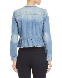 Kensie - Blue Frayed Peplum Denim Jacket - Lyst
