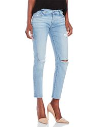 7 For All Mankind | Blue Distressed Josefina Skinny Boyfriend Jeans | Lyst