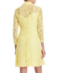 Nanette Nanette Lepore - Yellow Long Sleeve Lace A-line Dress - Lyst