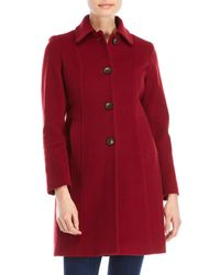 Anne Klein - Red Petite Single-breasted Wool Coat - Lyst