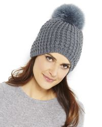 Kyi Kyi   Gray Grey Wool Blend Knit Hat With Fox Fur Pom Pom   Lyst