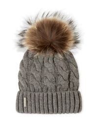 SOIA & KYO | Gray Hat With Real Fur Pom-Pom And Folded Cuff | Lyst
