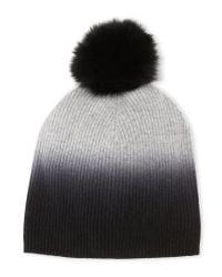 Sofia Cashmere   Gray Real Fox Fur Pom-Pom Hat   Lyst