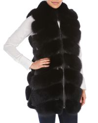 Belle Fare | Black Real Fox Fur Leather Vest | Lyst