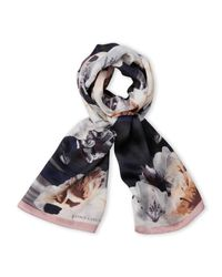 Vince Camuto | Blue Floral Silk Scarf With Solid Trim | Lyst