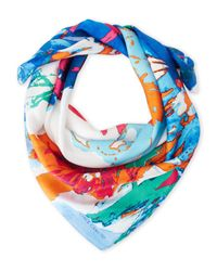 Vince Camuto - Blue Floral Expression Square Scarf - Lyst