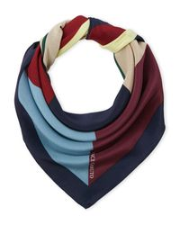 Vince Camuto - Blue Geo Square Silk Scarf - Lyst