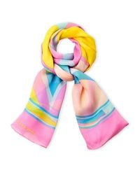Leonard | Pink Printed Silk Scarf | Lyst