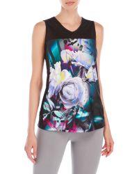 Nanette Lepore | Black Floral Bouquet Performance Tank | Lyst