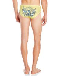 Just Cavalli Yellow Cactus Logo Swim Briefs for men