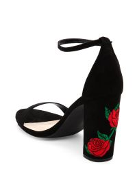 Wild Diva - Black Morris Embroidered Block Heel Sandals - Lyst