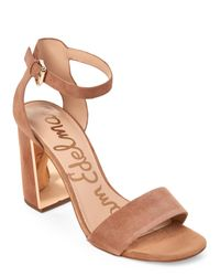 Sam Edelman | Brown Golden Caramel Synthia Two-Piece Block Heel Sandals | Lyst