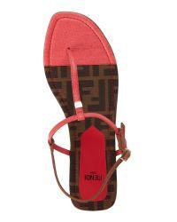 Fendi Black Coral & Tobacco Two-Tone Flat Sandals