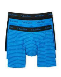 Calvin Klein - Blue 3-Pack Cotton Comfort Fit Boxer Briefs for Men - Lyst
