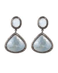 Bavna - Metallic Sterling Silver Diamond, Rainbow Moonstone & Sapphire Earrings - Lyst