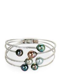 Tara Pearls | Multicolor Tahitian Cultured Pearl & White Topaz Bracelet | Lyst