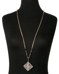 Natasha Couture - Metallic Gold-Tone Square Accented Pendant Necklace - Lyst