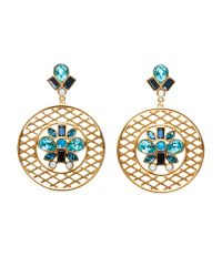 Swarovski | Metallic Gold-Tone Cyan Earrings | Lyst