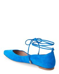 Aperlai - Blue Pointed Toe Ankle-Wrap Flats - Lyst