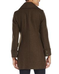 Anne Klein - Green Double-Breasted Wool Coat - Lyst