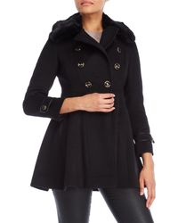 Via Spiga - Black Petite Faux Fur Trim Double-breasted Coat - Lyst