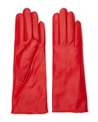 C-lective - Red Cashmere-Lined Leather Gloves - Lyst